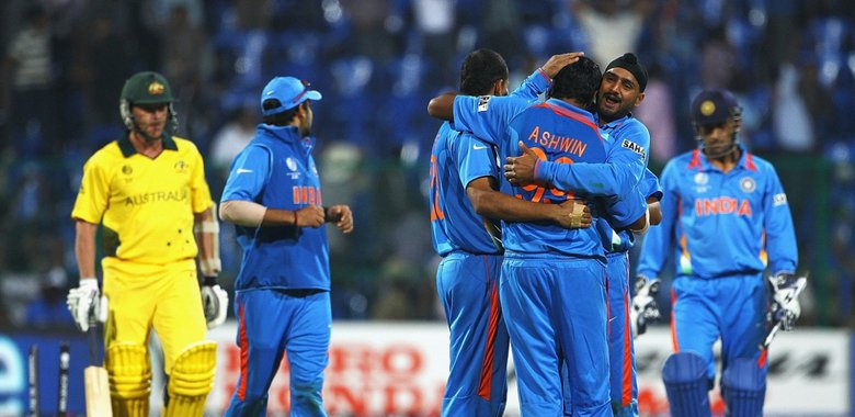 Ashwin celebrating after picking a wicket at WC
