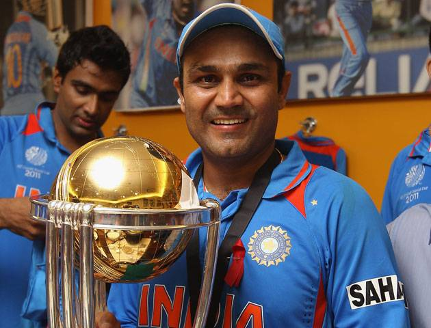 Virender Shewag With The Trophy